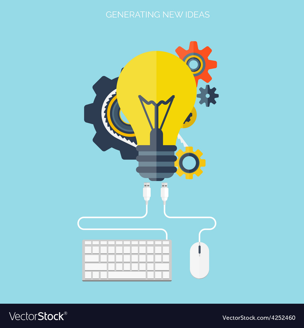 Flat bulb ideas finding concept background vector   Price: 1 Credit (USD $1)