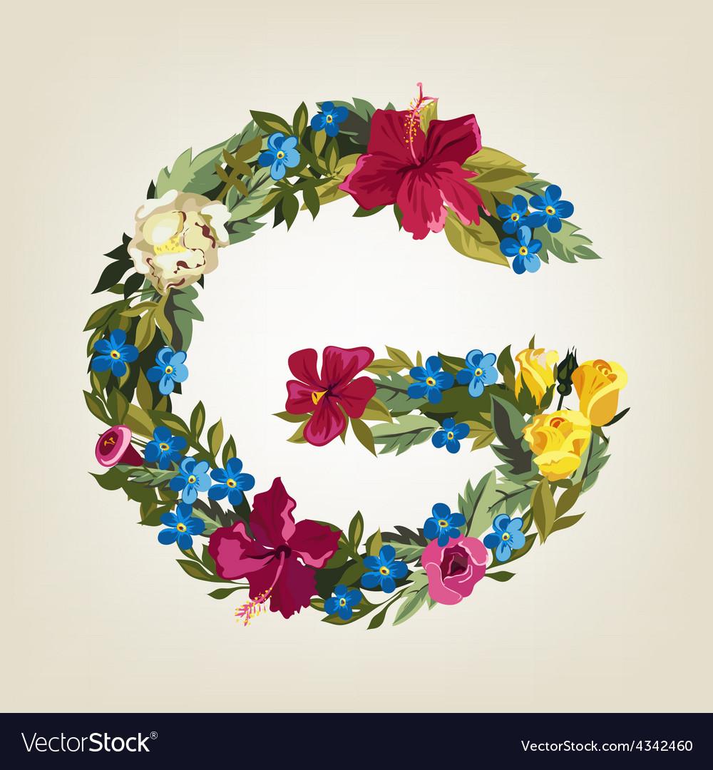 G letter flower capital alphabet colorful font vector | Price: 1 Credit (USD $1)