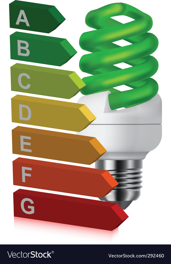 Green bulb and energy classification vector | Price: 1 Credit (USD $1)