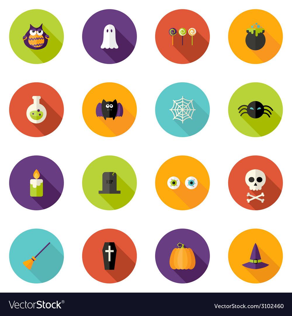 Halloween flat circle icons set vector | Price: 1 Credit (USD $1)
