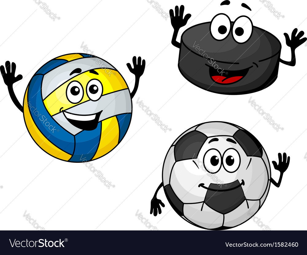 Hockey puck volleyball and soccer balls vector | Price: 1 Credit (USD $1)