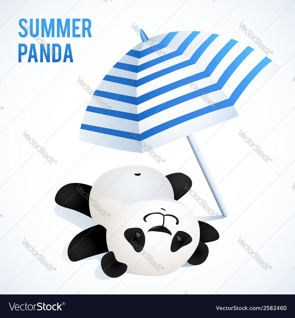 Little cute panda taking sunbath under blue vector | Price: 1 Credit (USD $1)