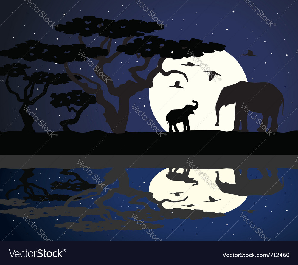Mother elephant and baby elephant in africa vector | Price: 1 Credit (USD $1)