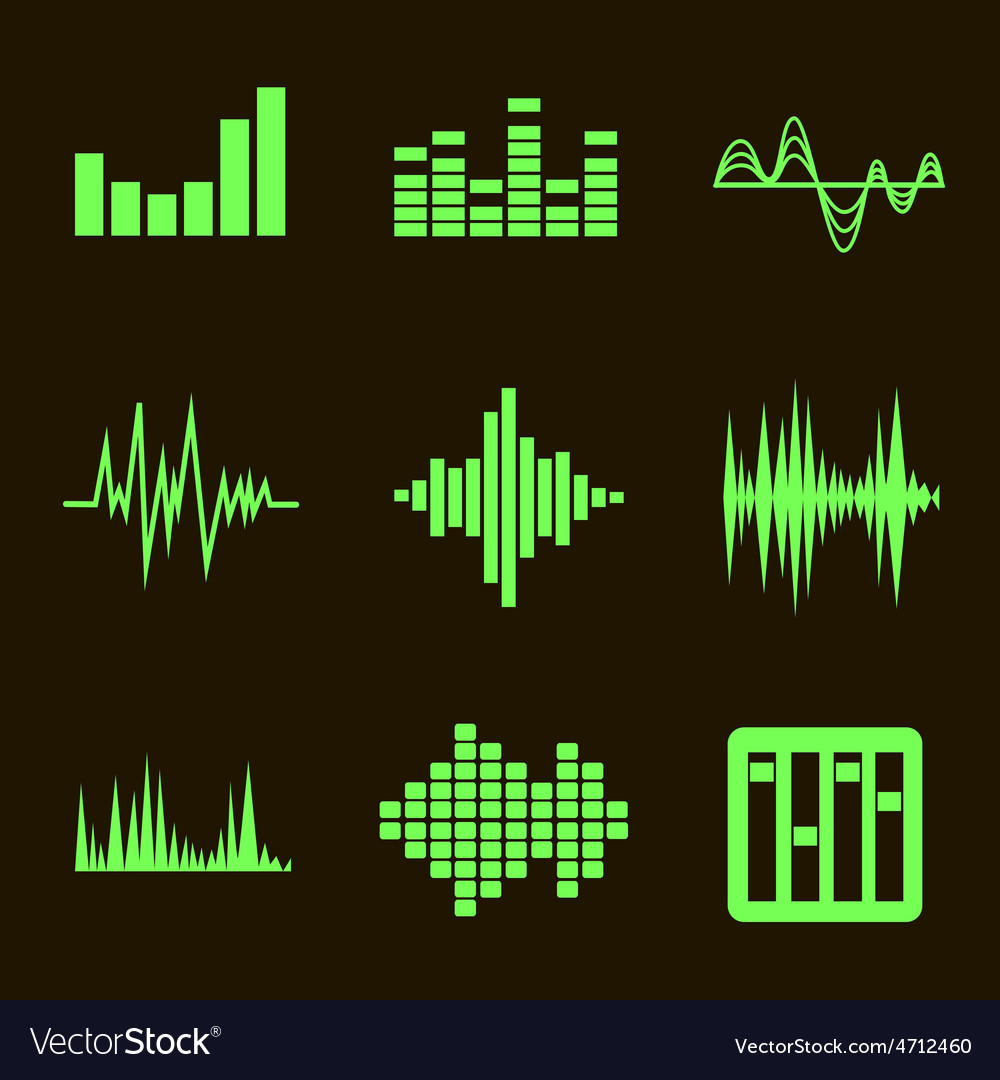 Music soundwave icon set on black vector | Price: 1 Credit (USD $1)