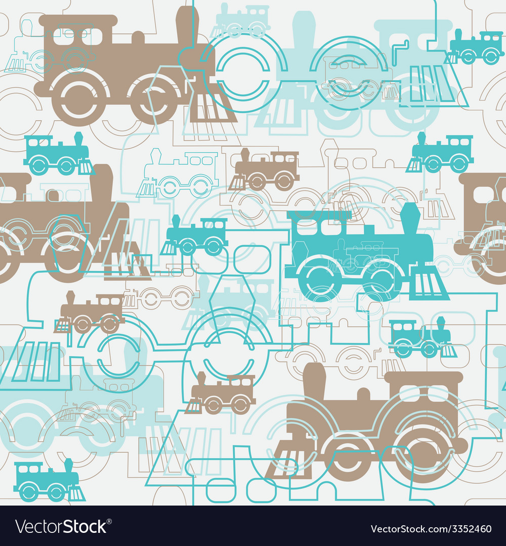 Seamless background with the steam locomotives vector | Price: 1 Credit (USD $1)