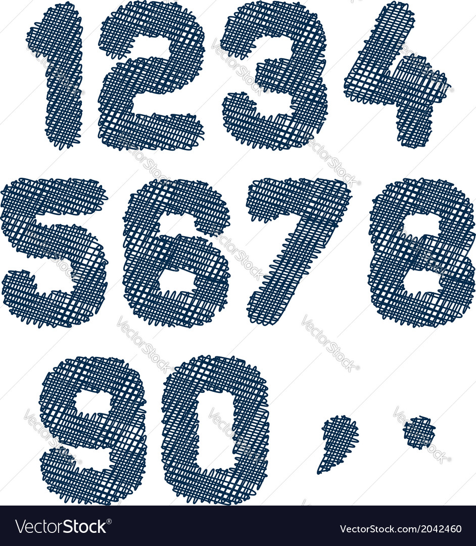 Sketched numbers vector | Price: 1 Credit (USD $1)