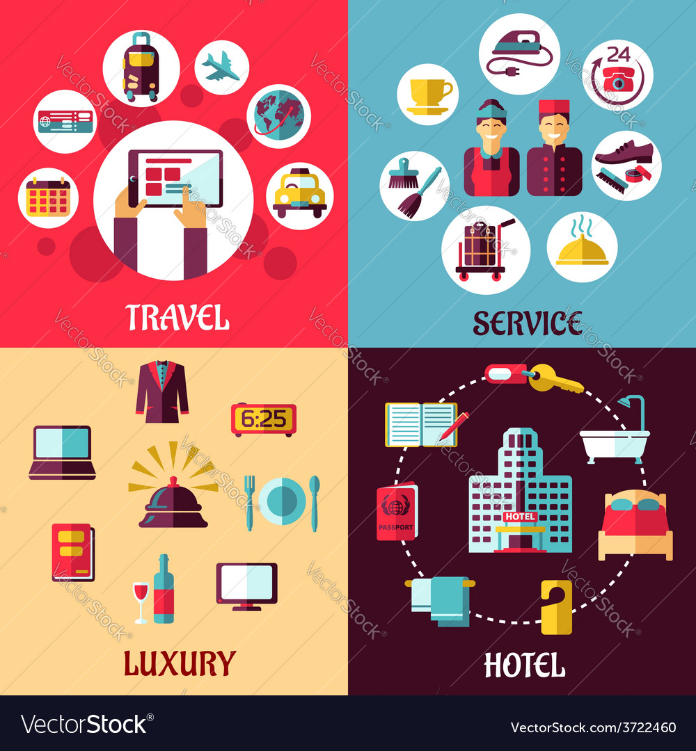 Travel and hotel services flat concept vector | Price: 1 Credit (USD $1)