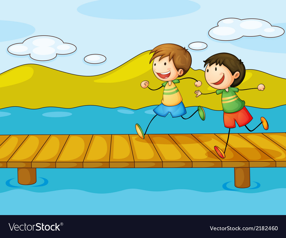 Young boys playing at the bridge vector | Price: 1 Credit (USD $1)