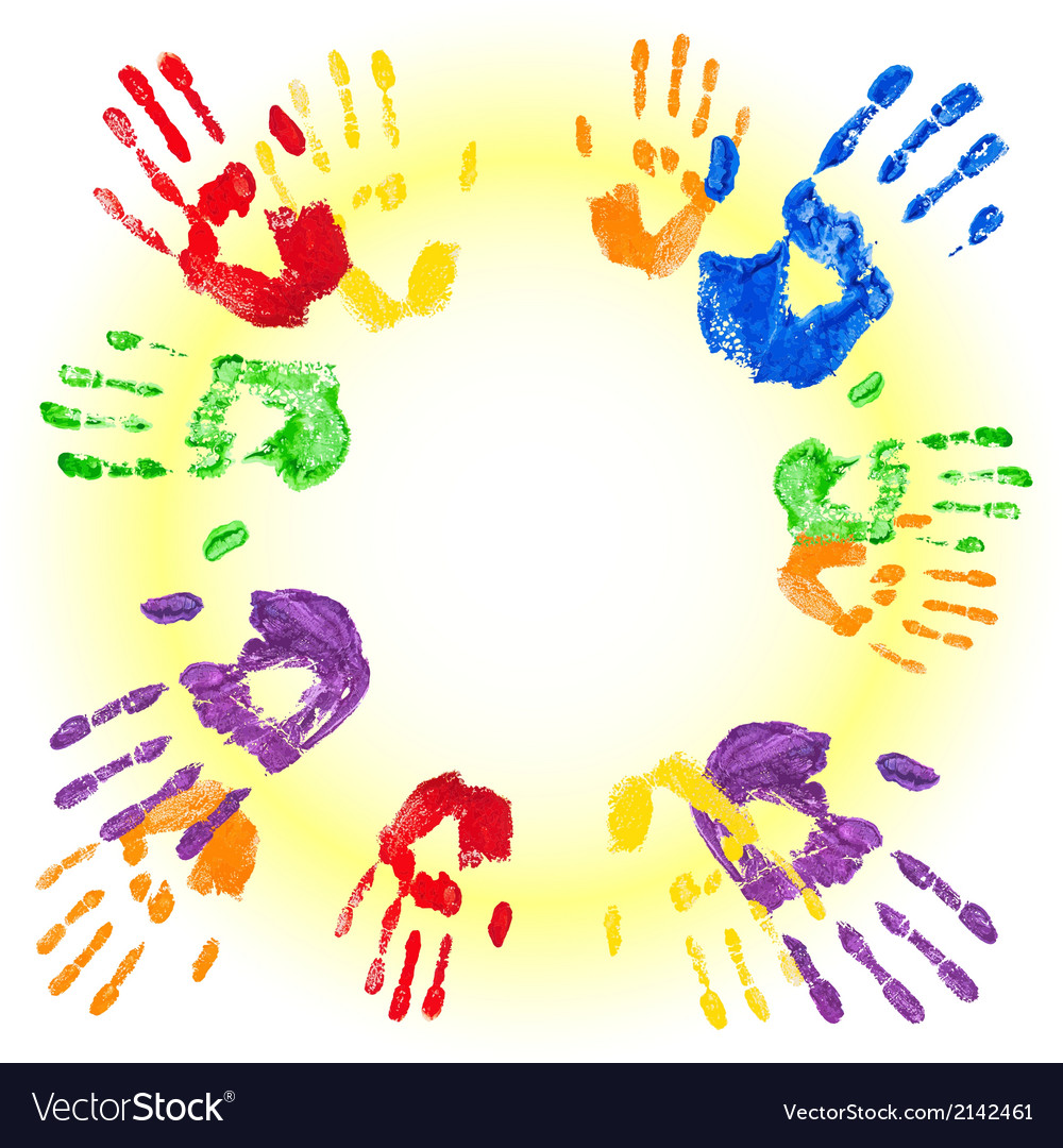 Background with multicolored handprints vector | Price: 1 Credit (USD $1)