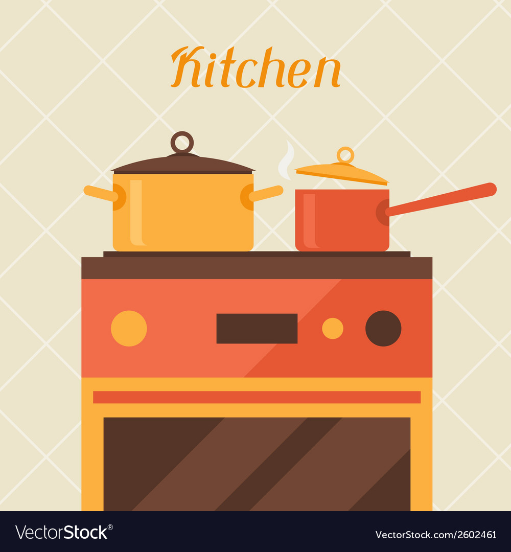 Card with kitchen oven and cooking utensils in vector | Price: 1 Credit (USD $1)