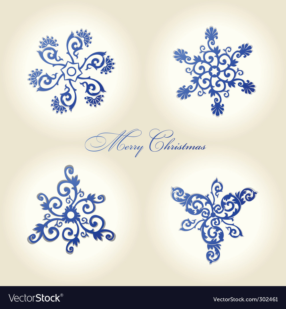 Christmas snowflakes vintage decor vector | Price: 1 Credit (USD $1)
