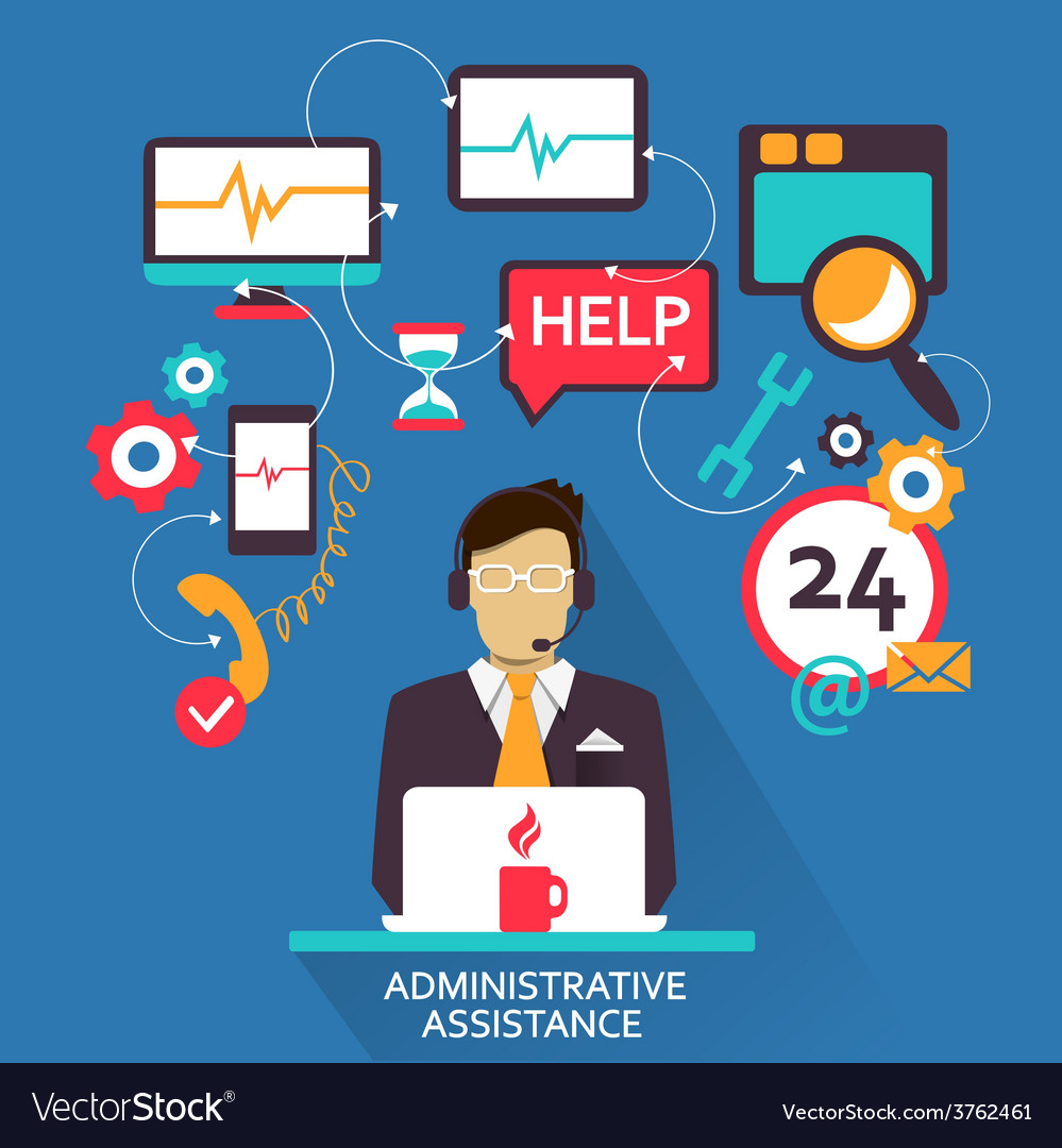 Freelance career administrative assistance vector | Price: 1 Credit (USD $1)