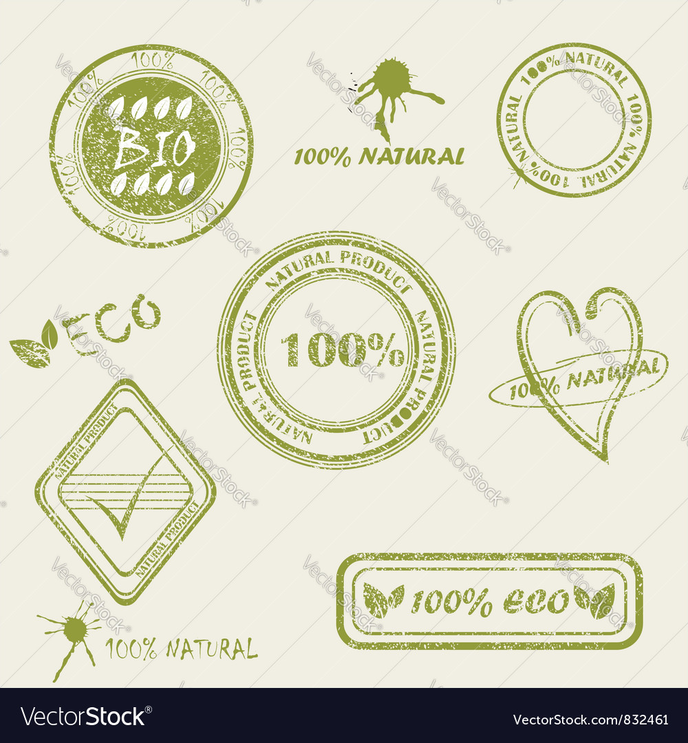 Green grunge rubber stamp set vector | Price: 1 Credit (USD $1)