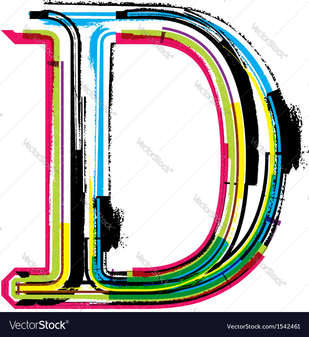 Grunge colorful font letter d vector | Price: 1 Credit (USD $1)