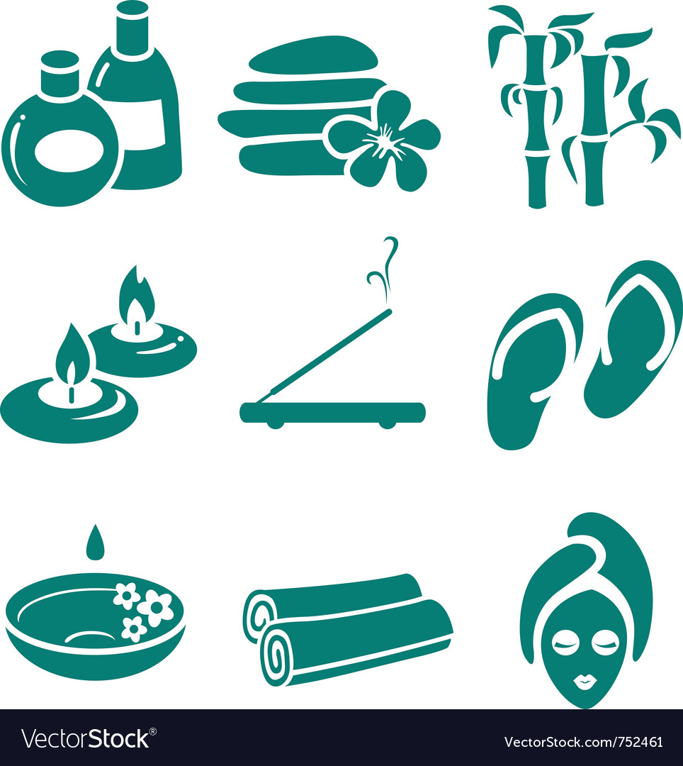 Minimalistic spa icons set vector | Price: 1 Credit (USD $1)