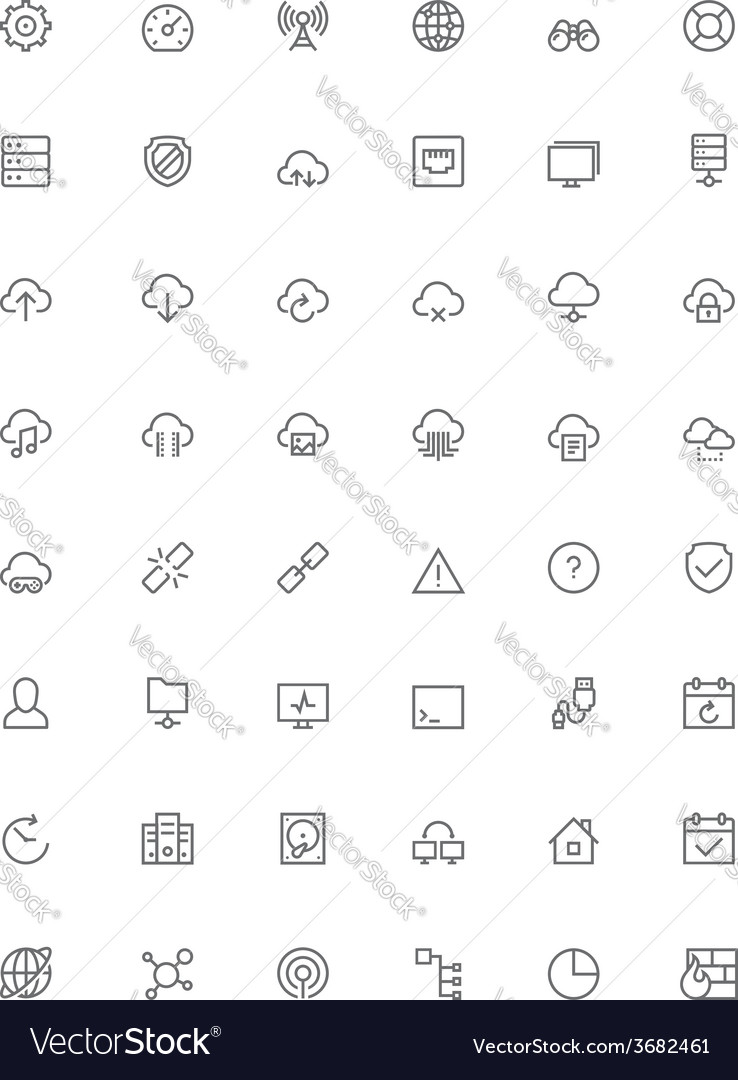 Network and cloud services icon set vector | Price: 1 Credit (USD $1)