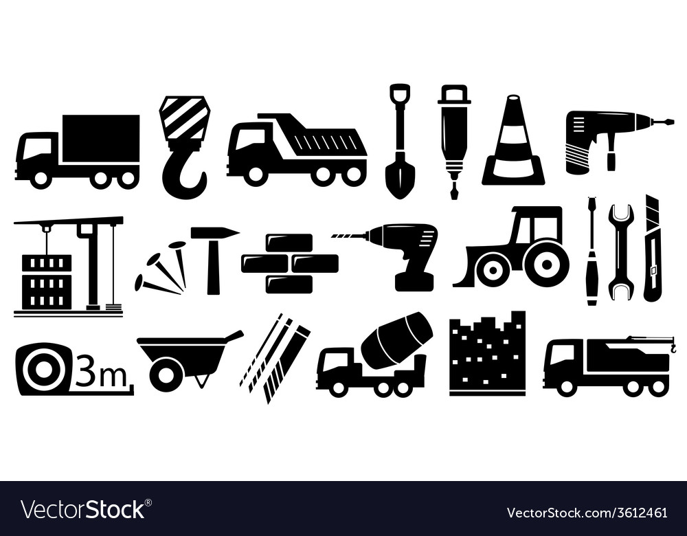 Set industrial construction objects vector | Price: 1 Credit (USD $1)