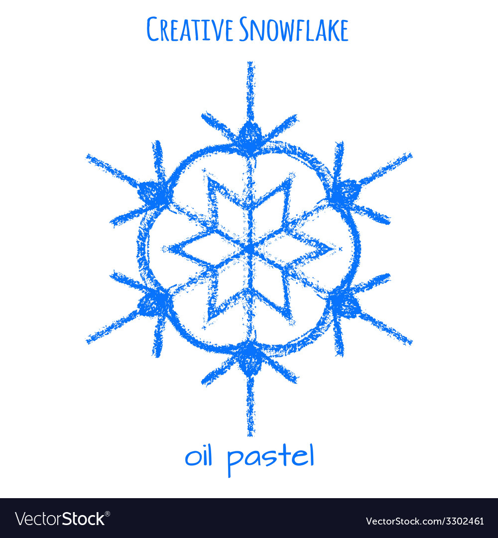 Snowflake hand drawn with oil pastels vector   Price: 1 Credit (USD $1)