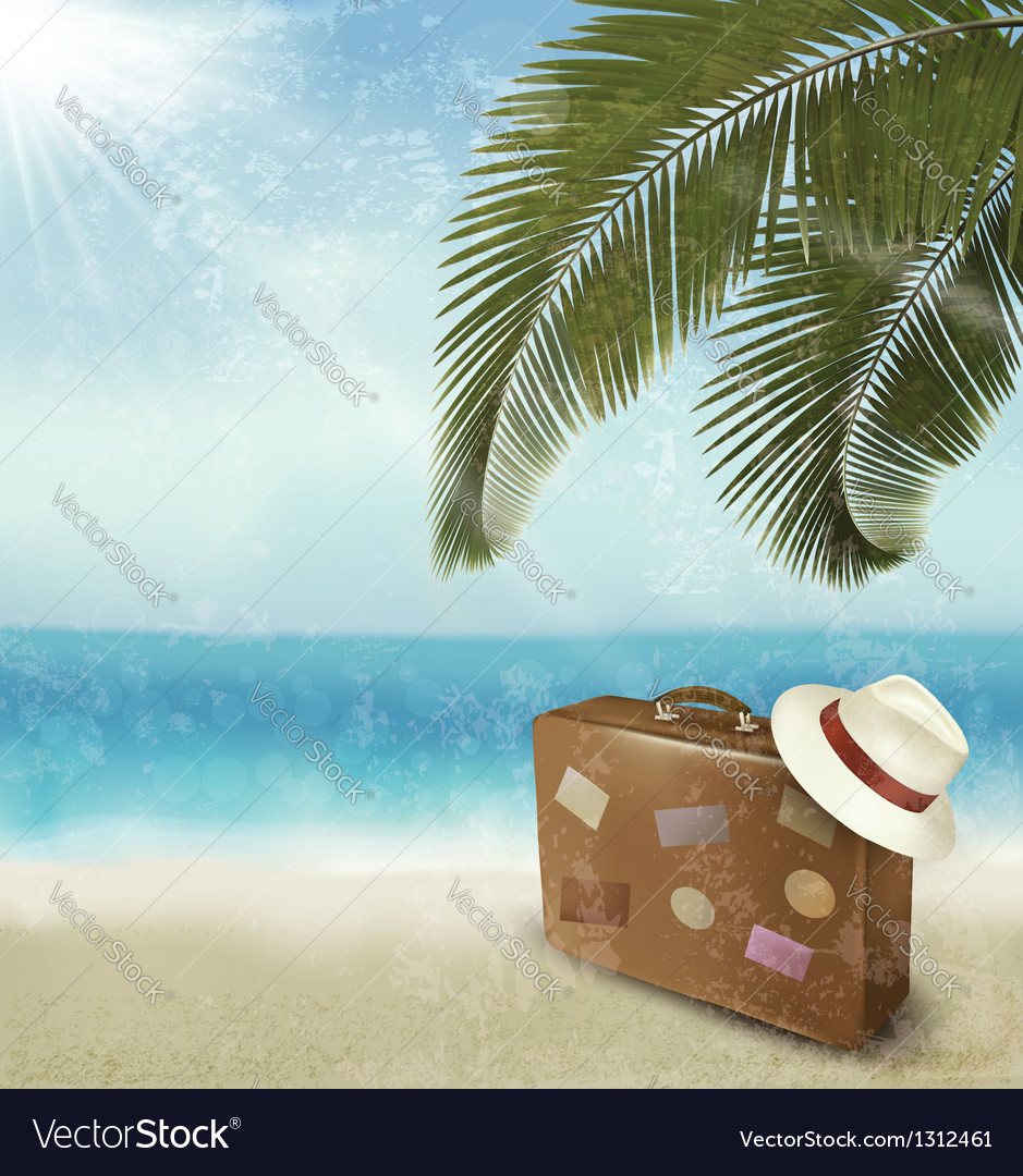 Vintage beautiful seaside background with suitcase vector | Price: 3 Credit (USD $3)