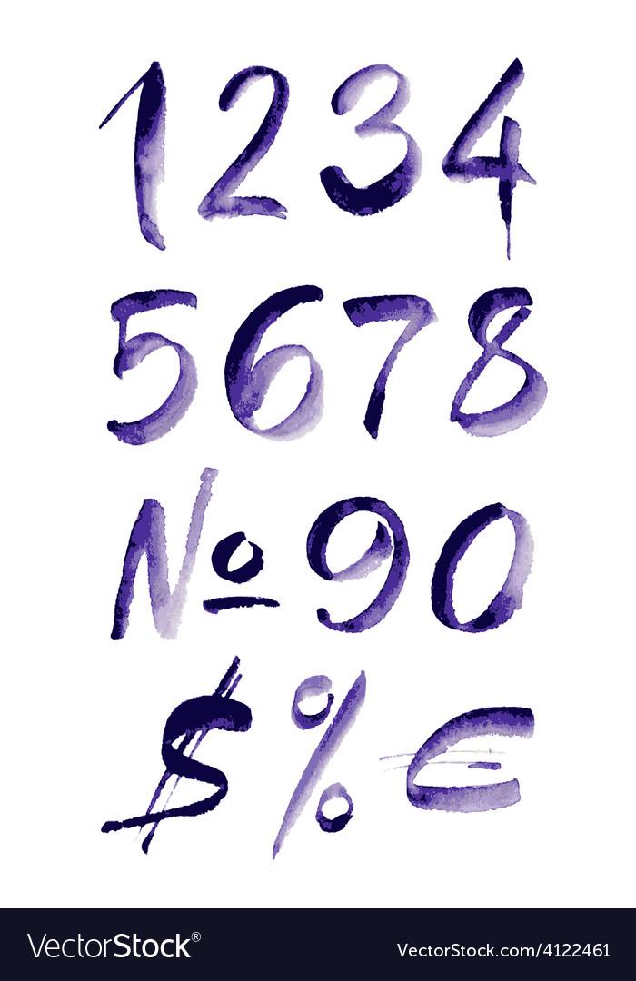 Watercolor hand written purple numbers vector | Price: 1 Credit (USD $1)