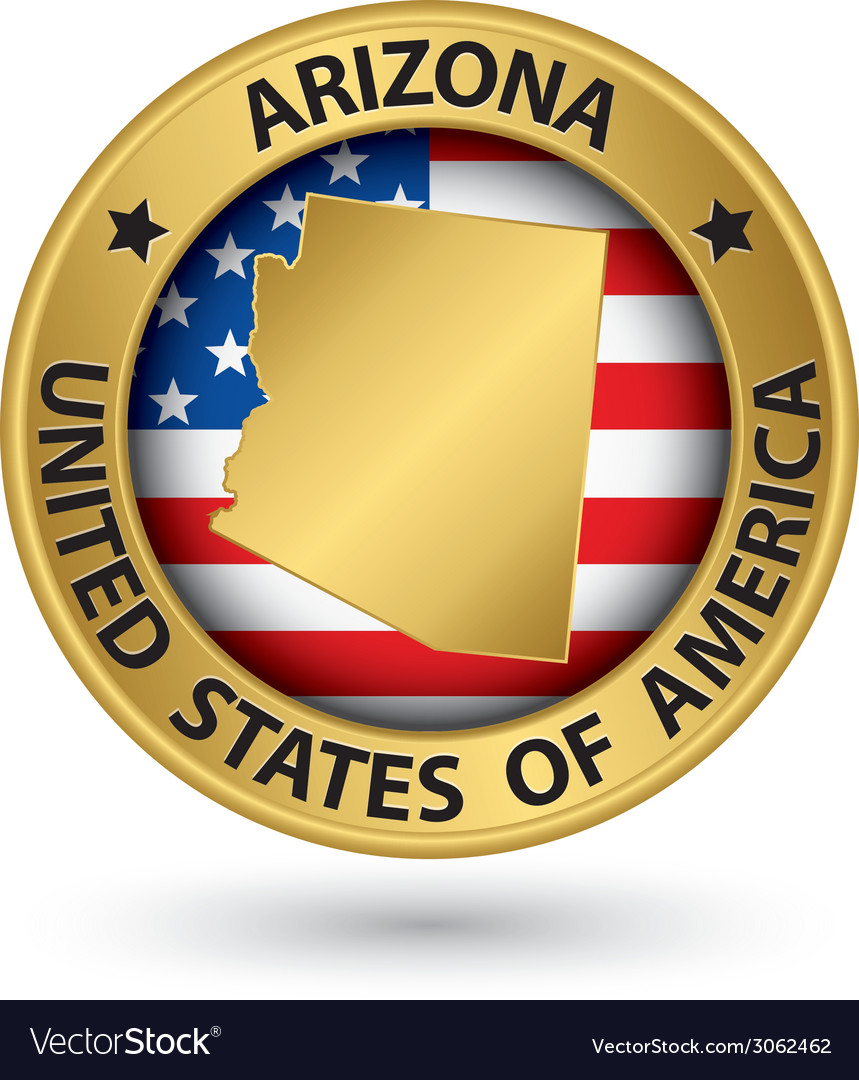 Arizona state gold label with state map vector | Price: 1 Credit (USD $1)