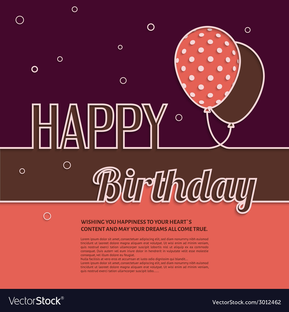 Birthday wish with balloons and text vector | Price: 1 Credit (USD $1)