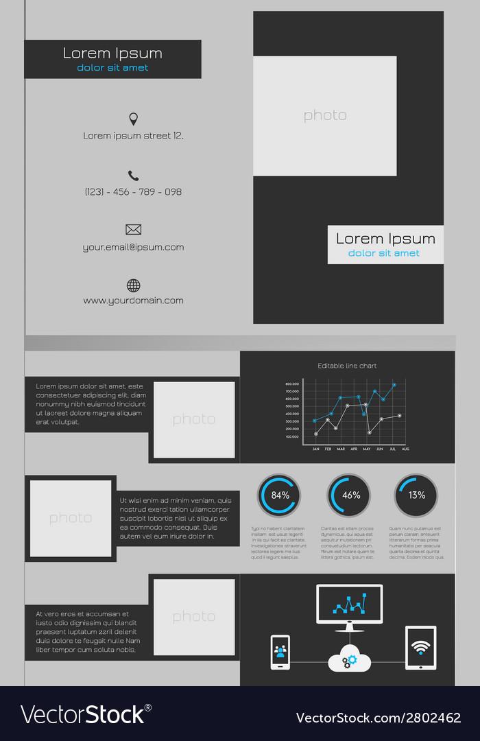 Business bifold brochure template dark grey vector | Price: 1 Credit (USD $1)