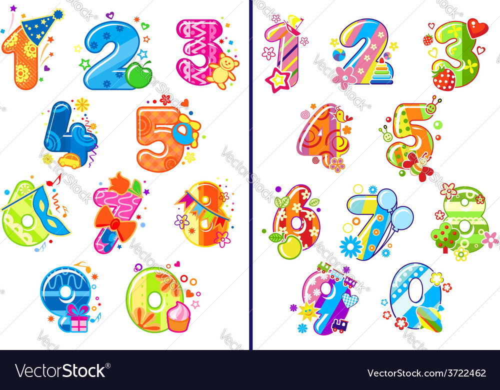 Cartoon childish numbers and digits vector | Price: 1 Credit (USD $1)