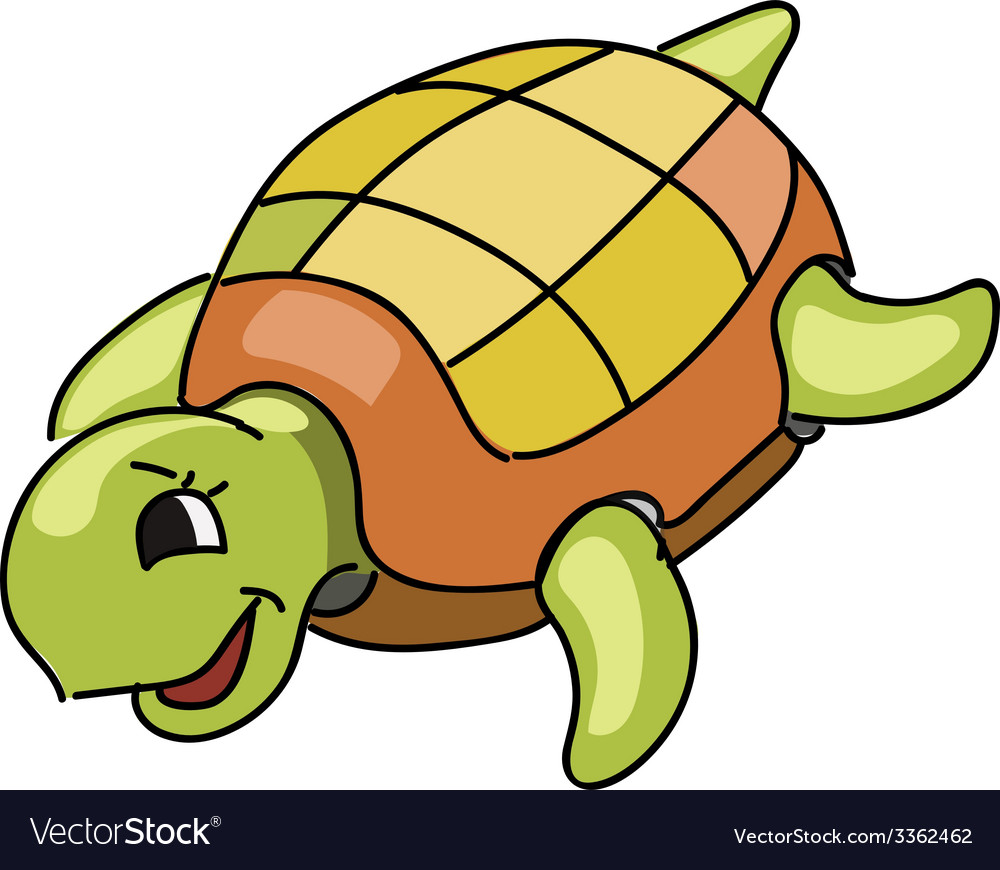 Cute turtle cartoon vector | Price: 1 Credit (USD $1)