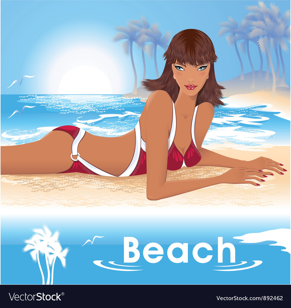 Girl on beach vector | Price: 3 Credit (USD $3)