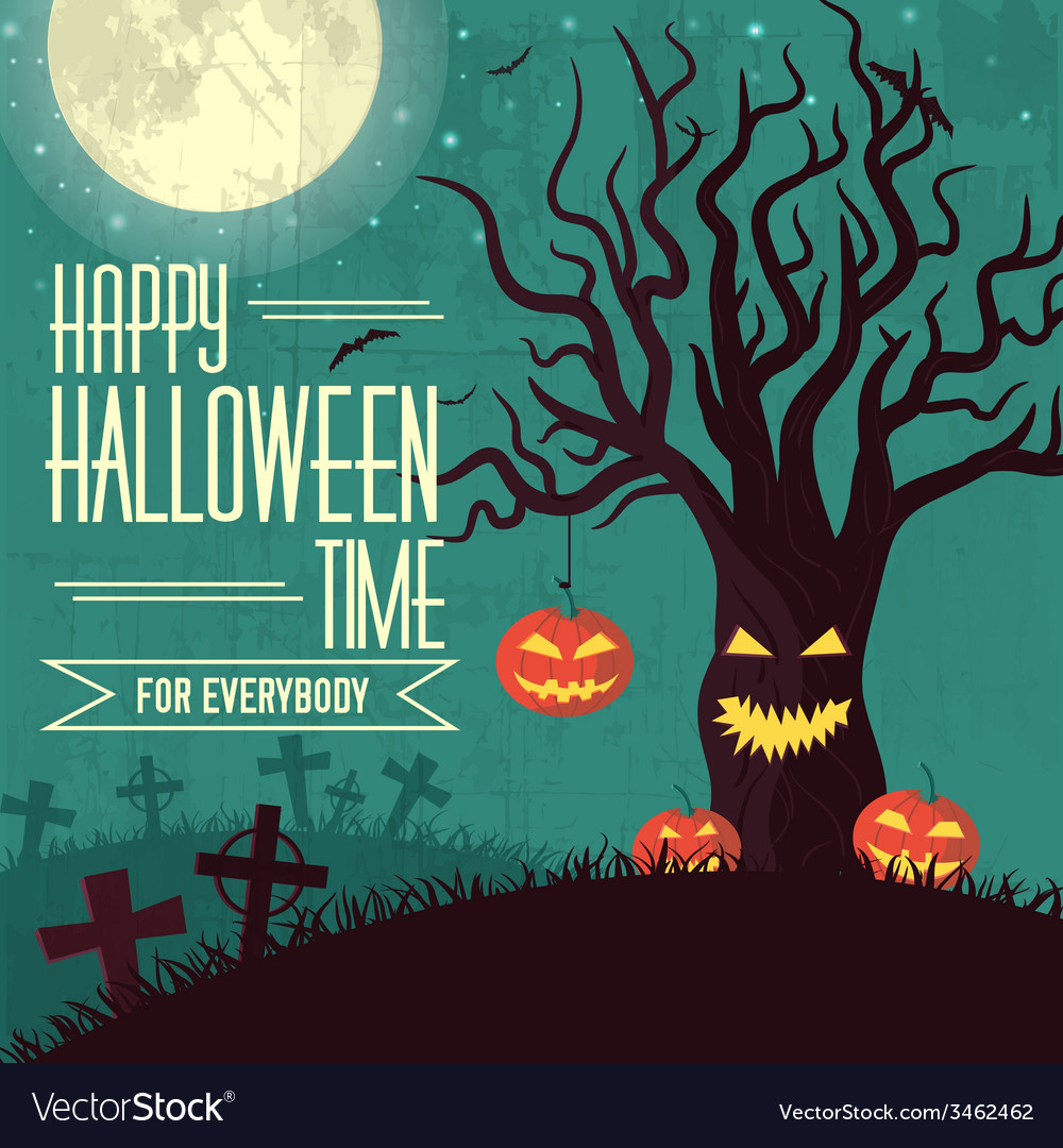 Halloween time background concept in retro style vector | Price: 1 Credit (USD $1)