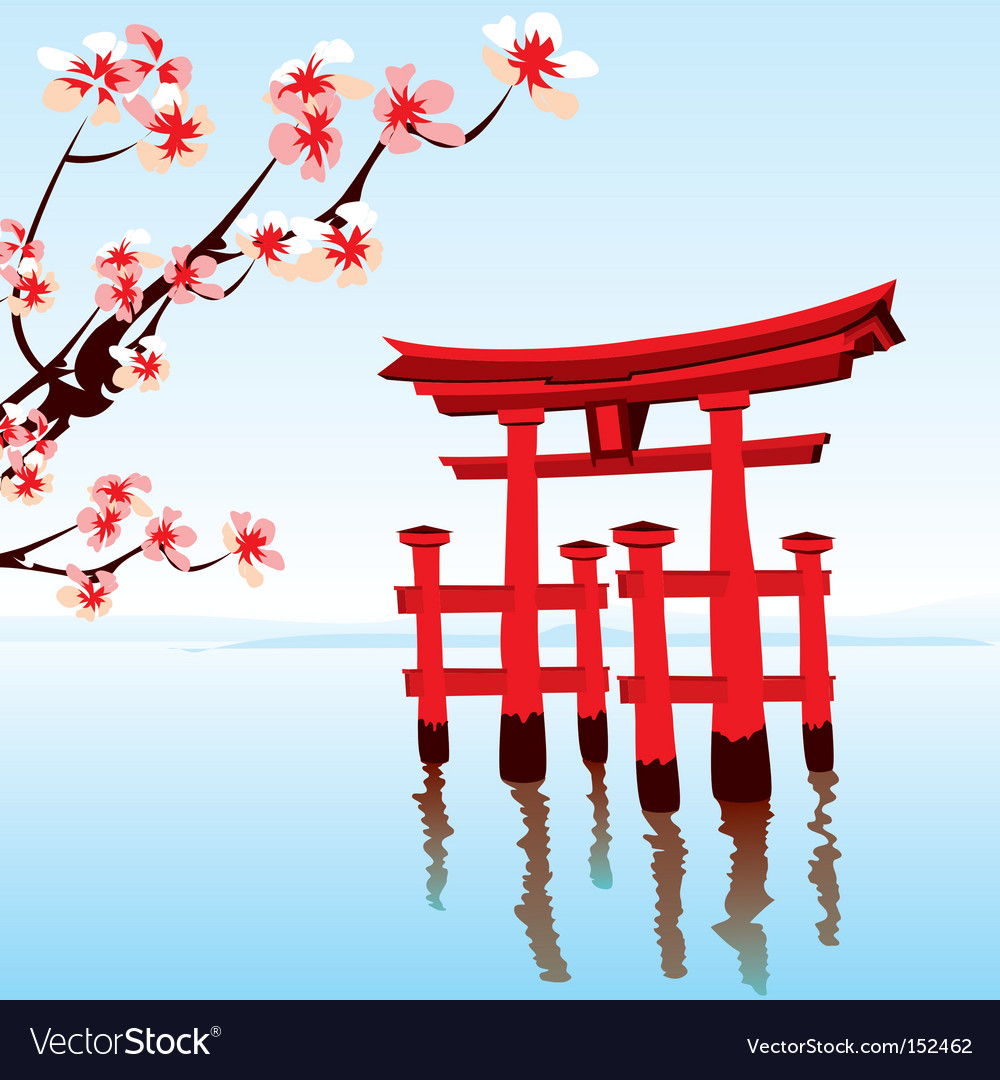 Japanese landscape vector | Price: 3 Credit (USD $3)
