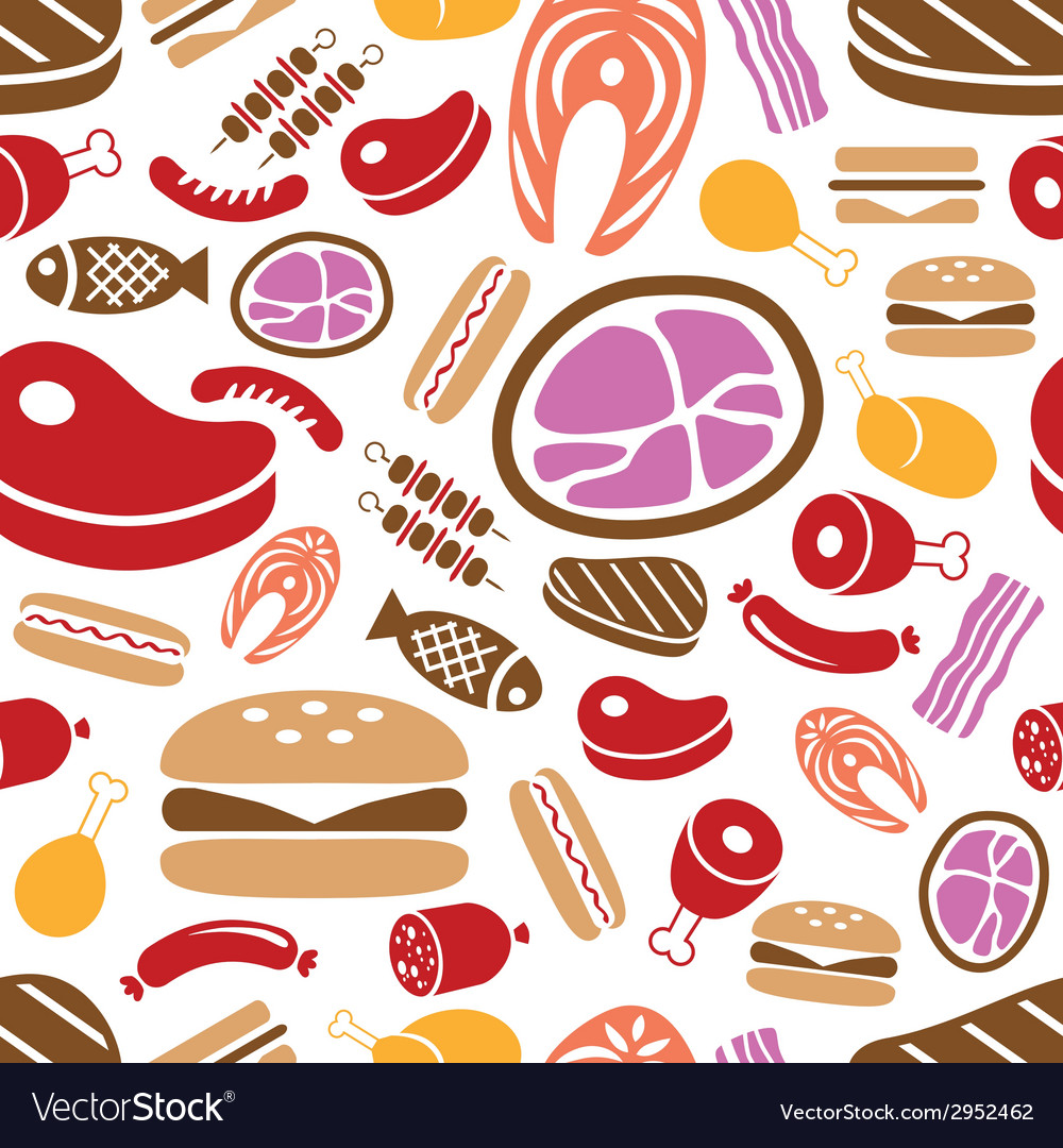 Meat seamless pattern vector | Price: 1 Credit (USD $1)