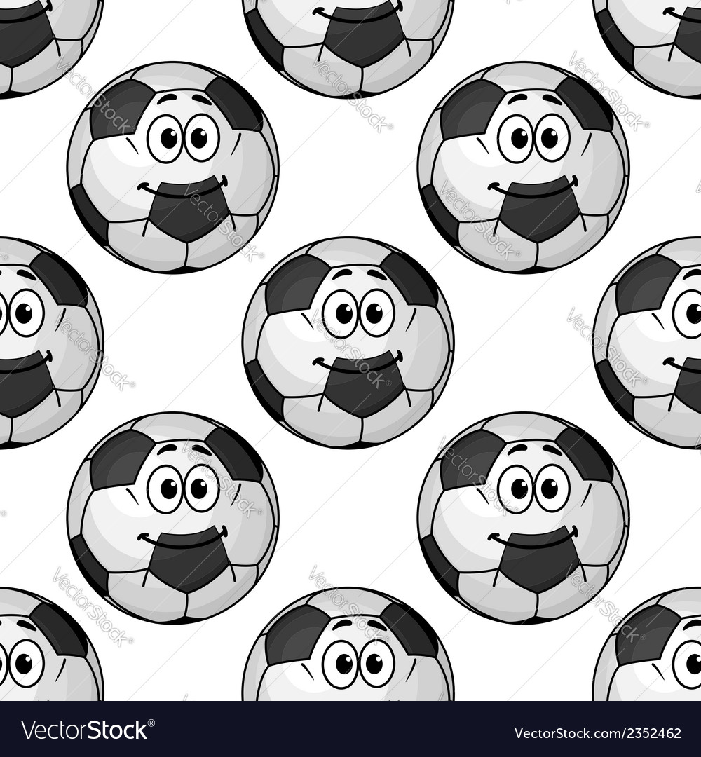 Seamless pattern of cartoon soccer balls or vector | Price: 1 Credit (USD $1)