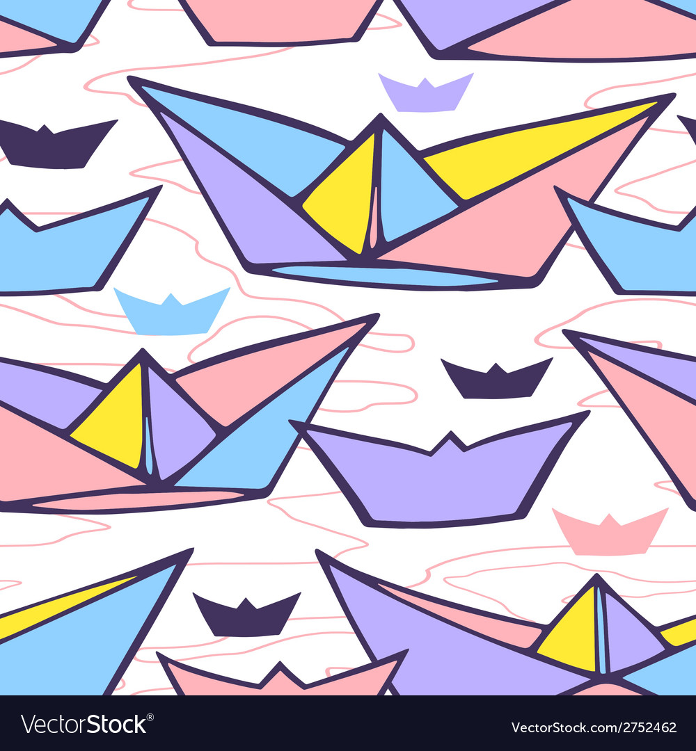 Seamless pattern with paper ships vector | Price: 1 Credit (USD $1)