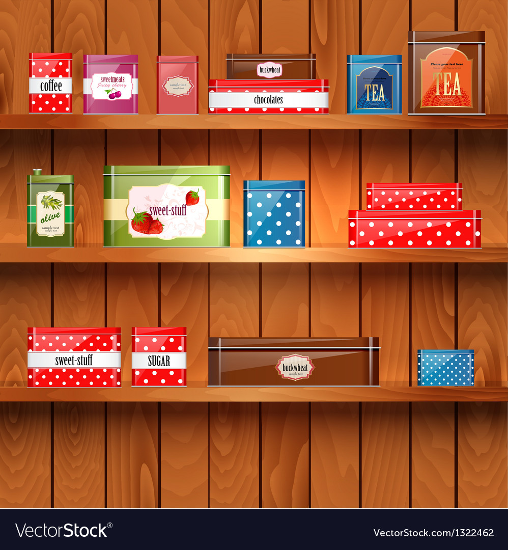 Tin boxes shelf vector | Price: 1 Credit (USD $1)