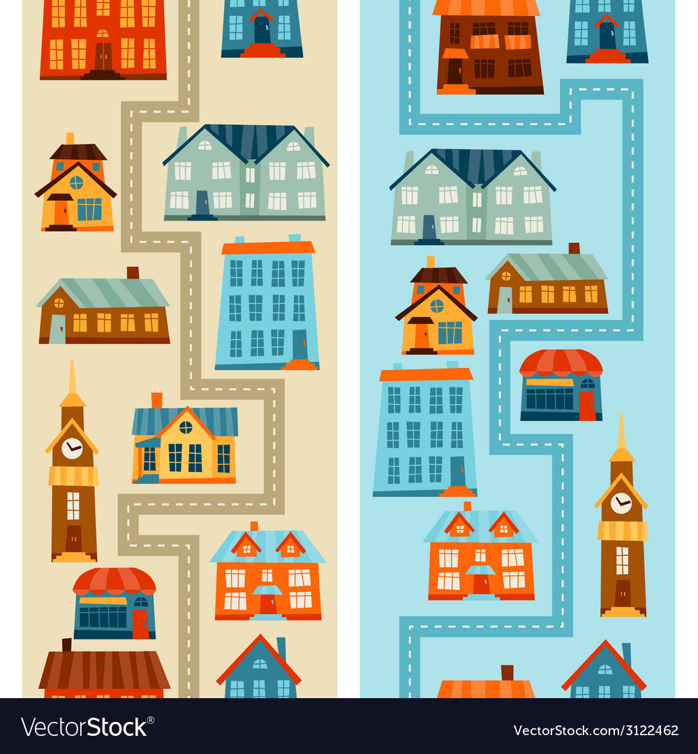 Town seamless patterns with cute colorful houses vector | Price: 1 Credit (USD $1)