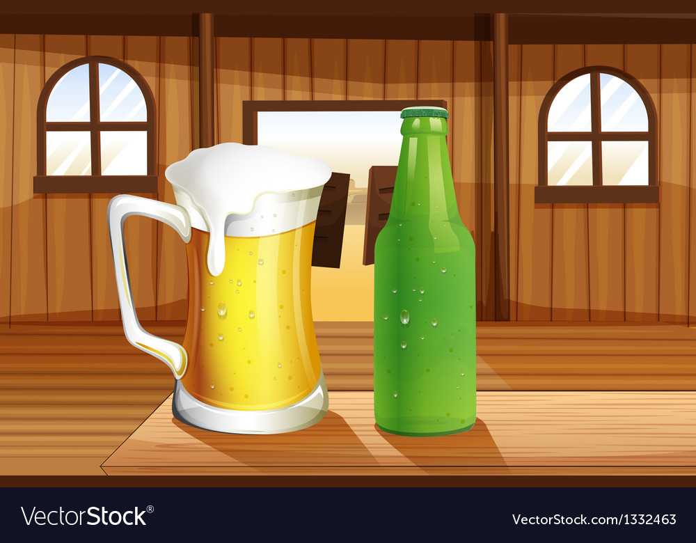 A beer and a bottle of softdrink at the table vector | Price: 1 Credit (USD $1)