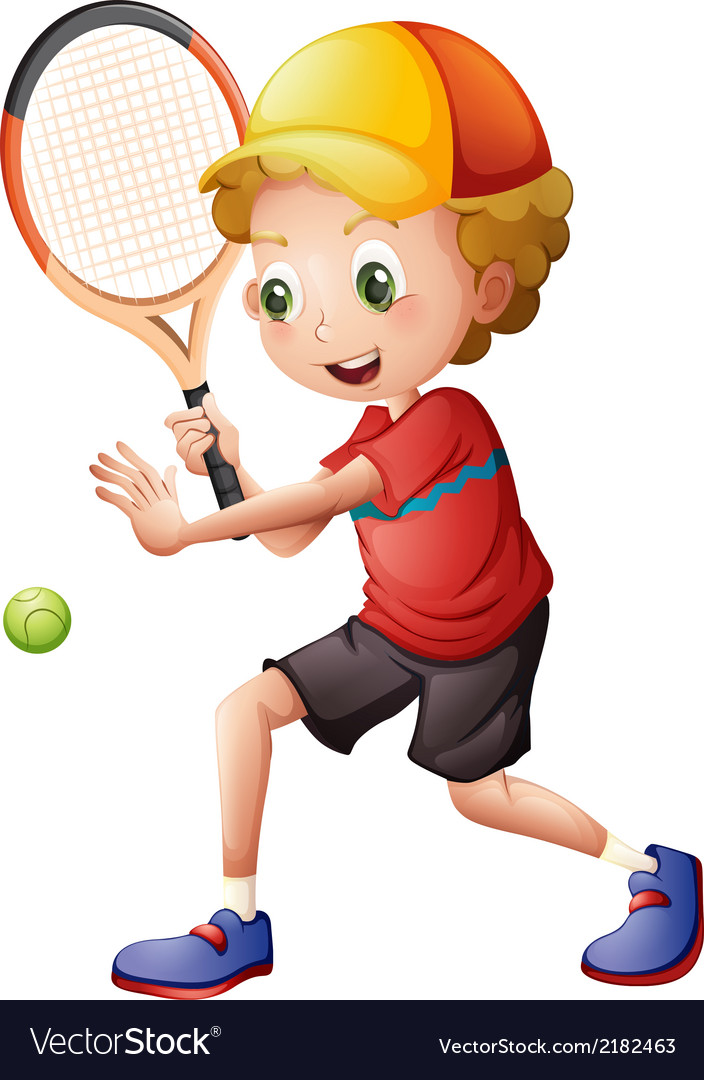 A cute little boy playing tennis vector