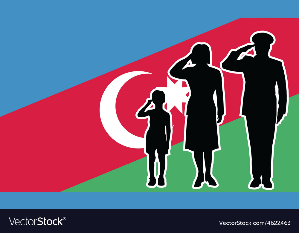 Azerbaijan soldier family salute vector | Price: 1 Credit (USD $1)