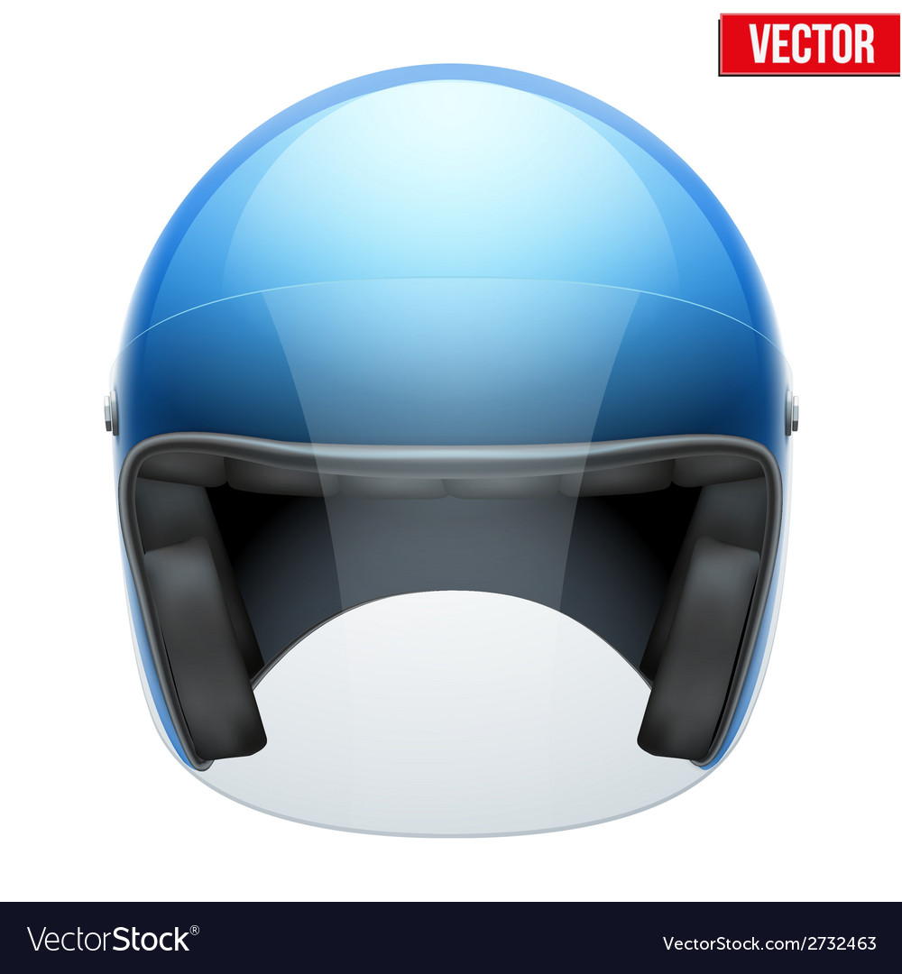 Blue motorbike classic helmet with clear glass vector | Price: 1 Credit (USD $1)