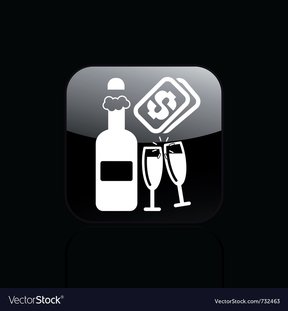 Champagne cost icon vector | Price: 1 Credit (USD $1)