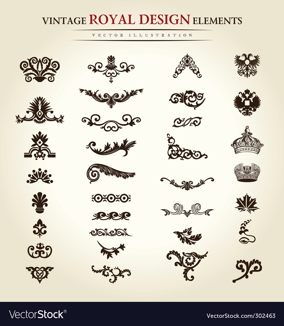 Flower vintage royal design element vector | Price: 1 Credit (USD $1)