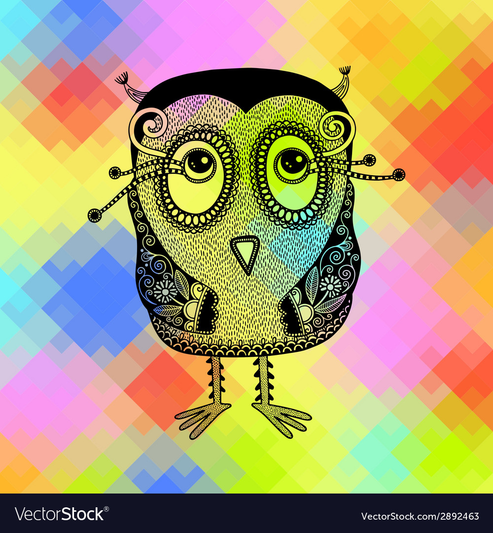Original modern cute ornate doodle fantasy owl vector | Price: 1 Credit (USD $1)