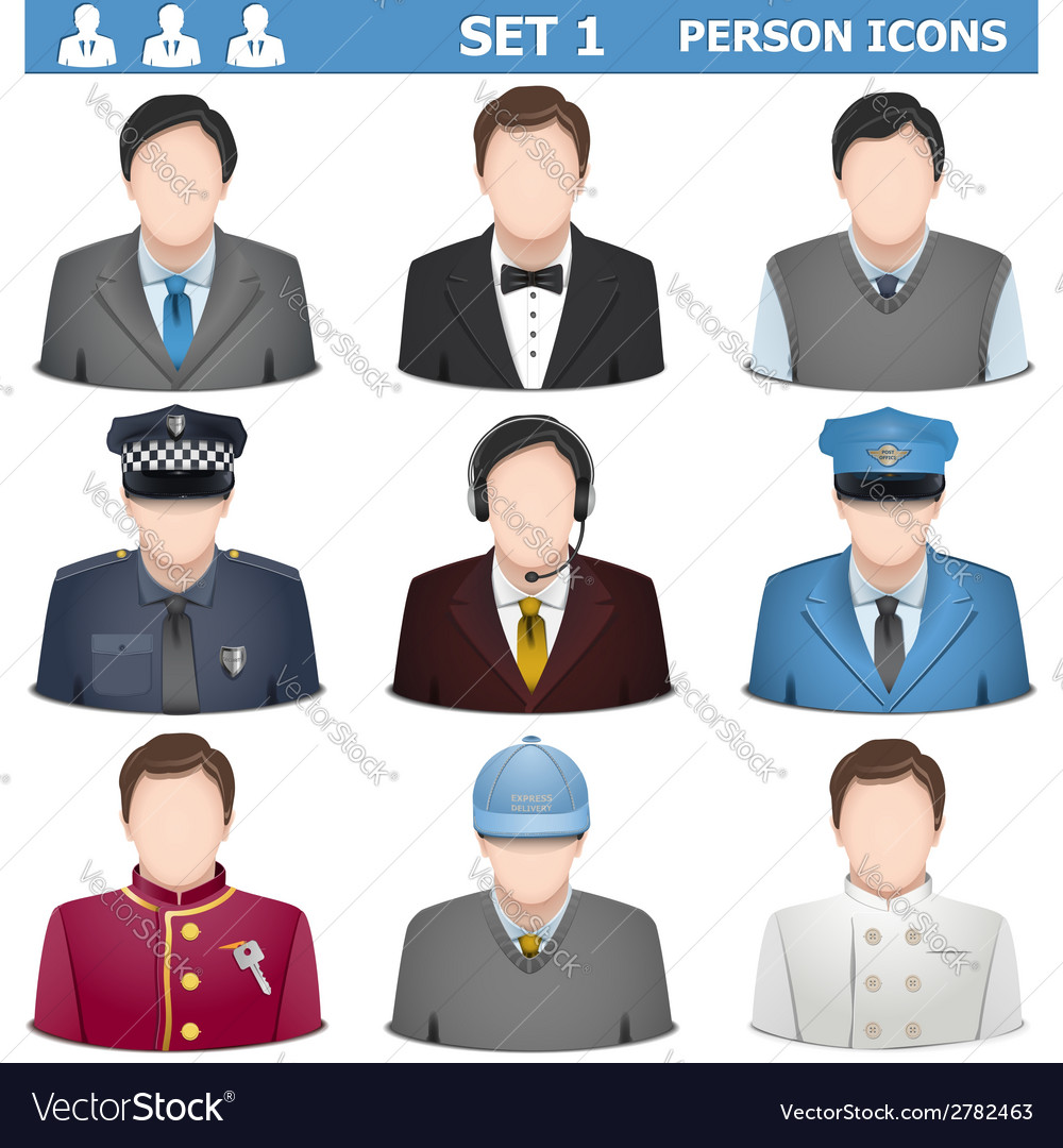 Person icons set 1 vector | Price: 1 Credit (USD $1)