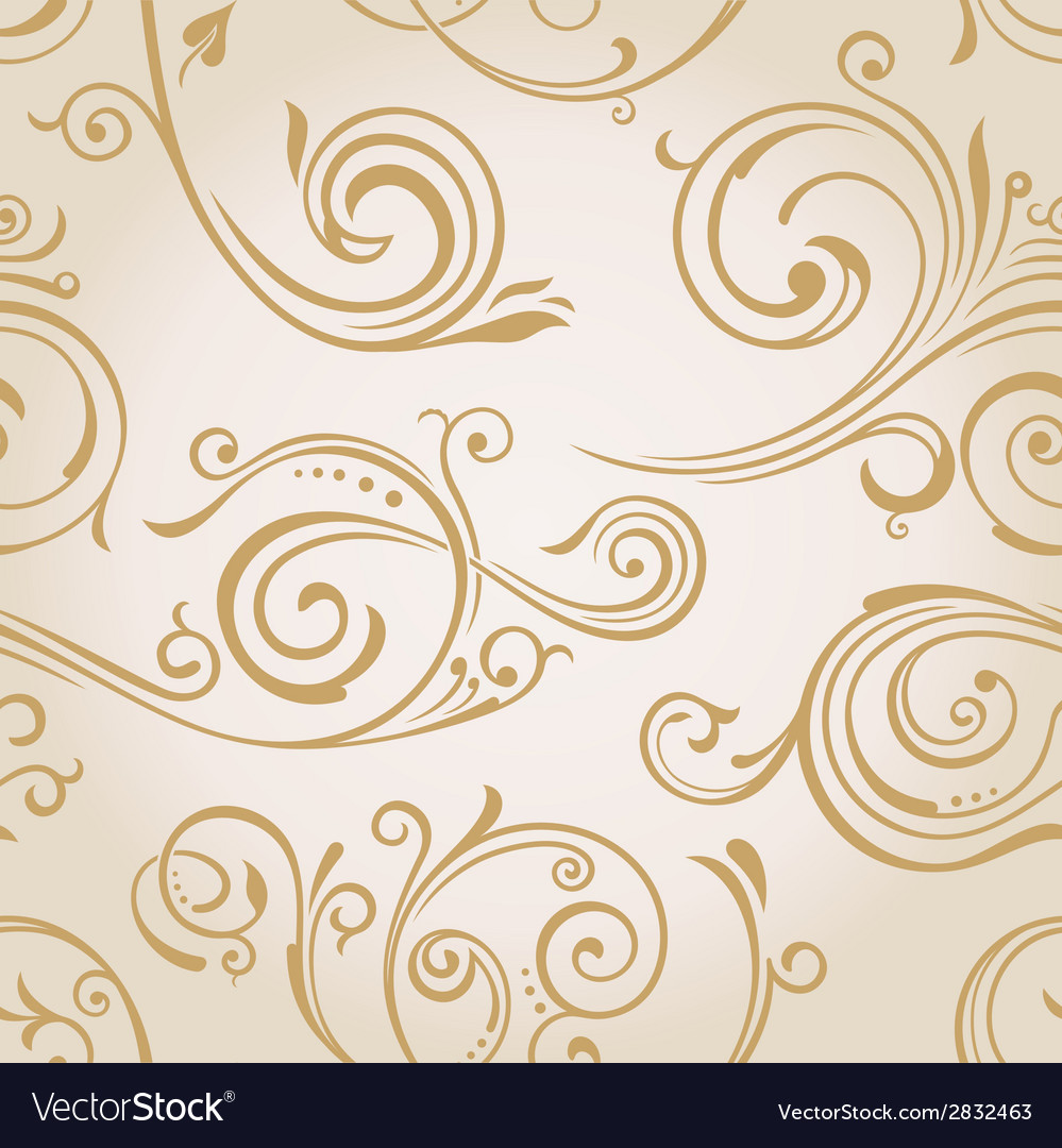 Seamless curves wallpaper vintage background vector | Price: 1 Credit (USD $1)