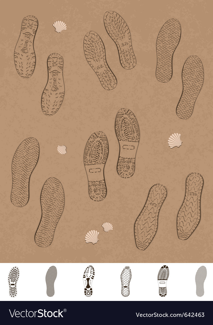 Set of footprints on the beach vector | Price: 1 Credit (USD $1)