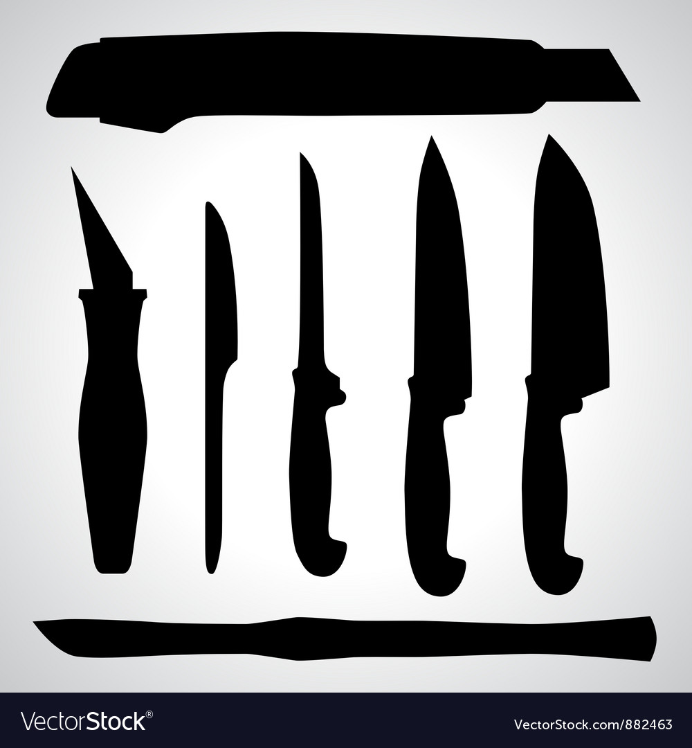 Set of knifes silhouettes vector | Price: 1 Credit (USD $1)