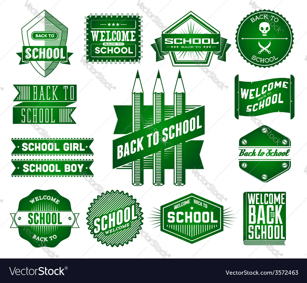 Set of school vintage labels vector | Price: 1 Credit (USD $1)