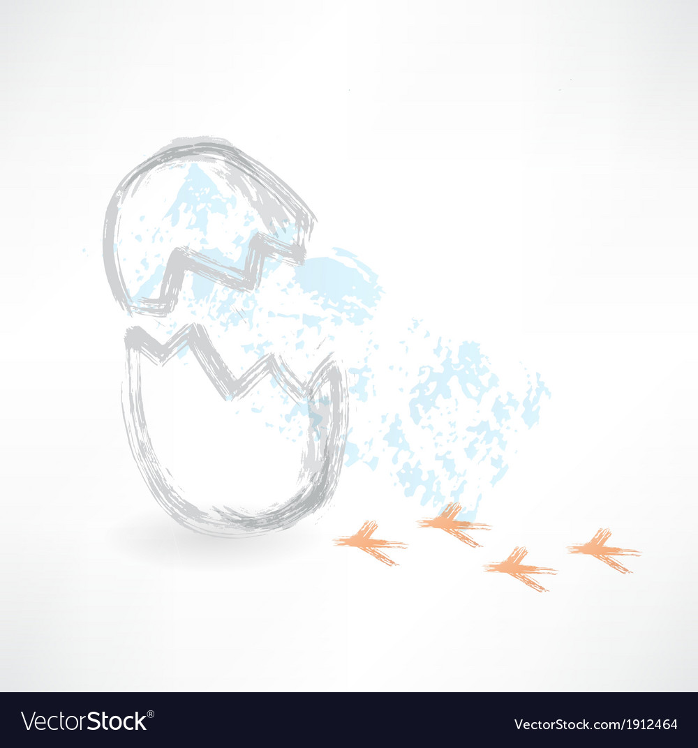 Break egg with bird footprints grunge icon vector | Price: 1 Credit (USD $1)